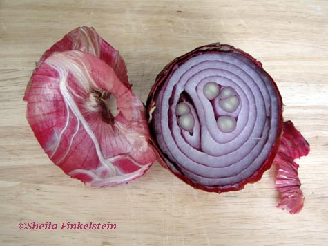 cut red onion with peel